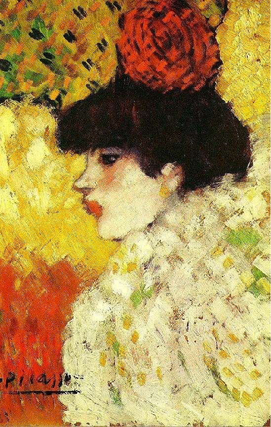 1901 Profil D Une Jeune Femme Fille Avec Fleur Rouge Image Album